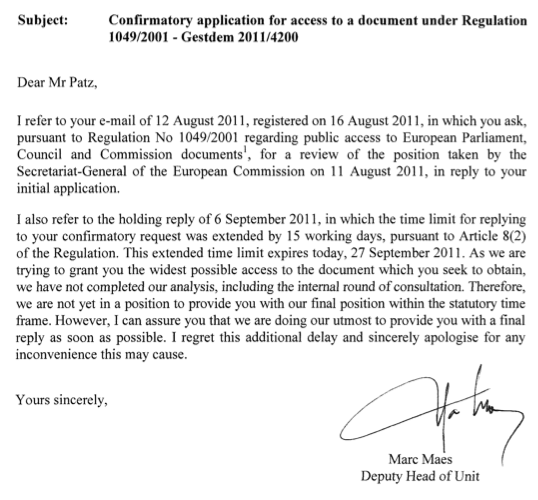 Reply European Commission to Freedom of Information Request