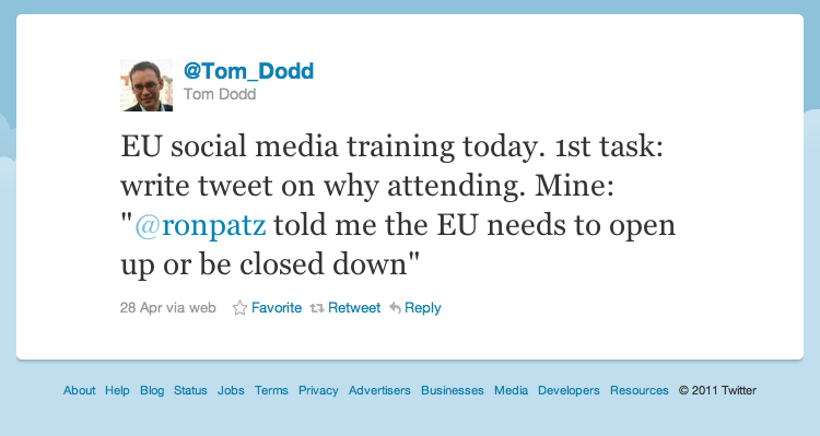 Tweet by Tom Dodd